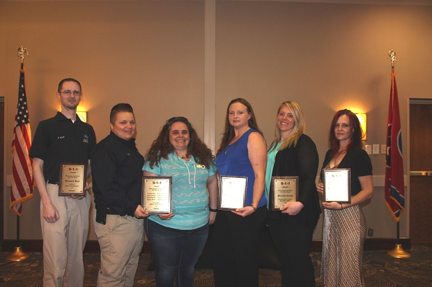 Telecommunicators of the Year are from left, Benjamin Hunt of MTSU Police, Amber Bryant and Cris Kamka of LaVergne Police, Reasa Thibodeaux of Smyrna Police, Michelle Corum of the Sheriff's Office and Rutherford Fire and Rescue and Brandy Sweeney of Murfreesboro Police and Murfreesboro Fire and Rescue. Not shown is Penny Barrett of the Emergency Medical Services and Andrea White, Kenneth Criswell, Candace Elmore, Jamie Harrell, Dalivus Morgan and Priscilla West of La Vergne Police (Photo courtesy of WGNS)